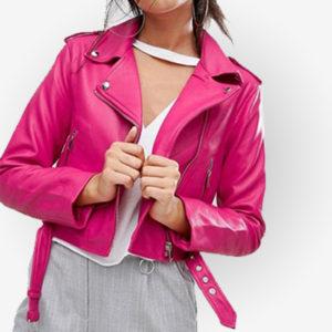 Beautiful Asymmetrical Pink Leather Jacket