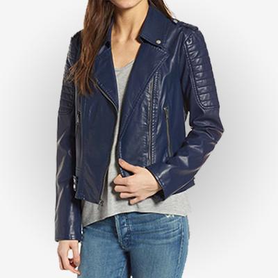 Women's In Asymmetric Zipper Navy Blue Leather Jacket