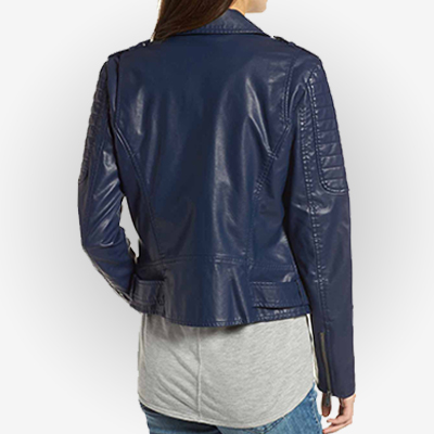 Women Showing Her Asymmetric Zipper Leather Jacket From The Back.