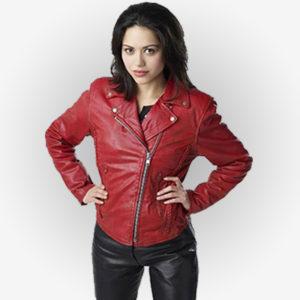 Ben 10 Alien Swarm Actress Alyssa Diaz With Red Leather Jacket
