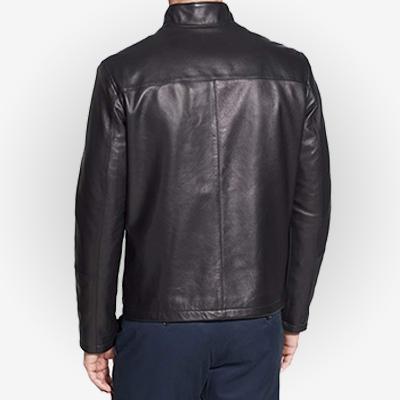 black moto jacket men's back