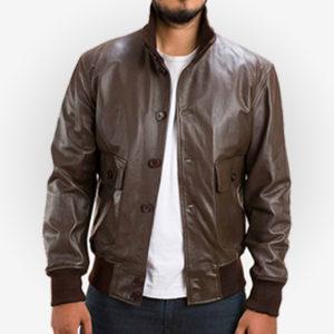 Columbus Brown Bomber Leather Jacket Mens