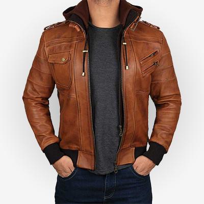 Hooded Brown Bomber Mens Jacket
