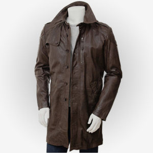 Real Brown Leather Trench Coat for Men