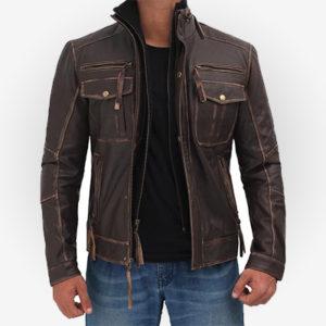 Stylish Mens Brown Motorcycle Jacket