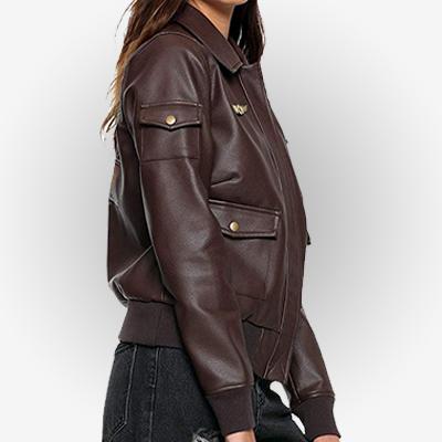 Brie Larson Flight Leather Jacket