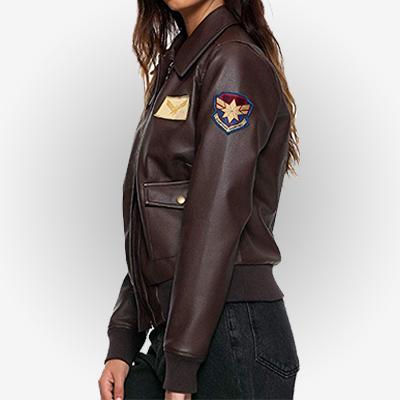 Brie Larson Bomber Brown Jacket