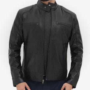 black racer biker jacket for men