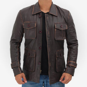 distressed real leather brown jacket