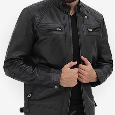 genuine leather black jacket mens