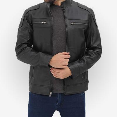 Black Motorcycle Genuine Leather Jacket
