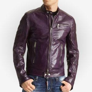 purple biker leather jacket for men front