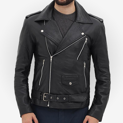 black motorcycle leather jacket costume for men