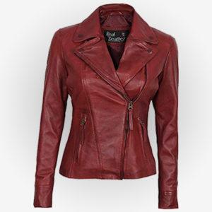 Reddish Asymmetrical Leather Jacket For Womens