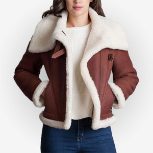 Front Look Of COmfy Shearling Sheepskin Women Jacket