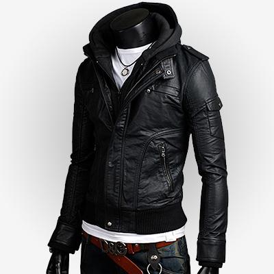 black genuine leather jacket with hoodie