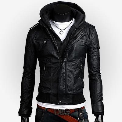 Slim fit jacket in black for men