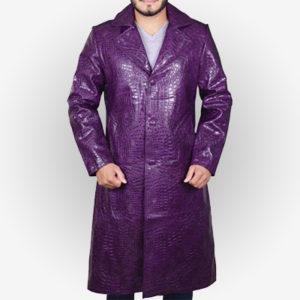 Joker Purple Leather Coat