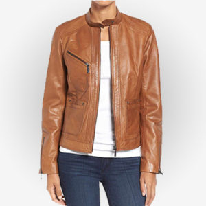 Casual fit Women Brown Leather Jacket