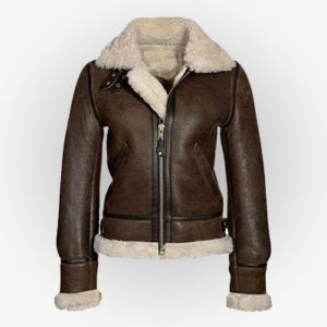 Front Zip Closure Distressed Women Jacket With Hem Fur Cuff and Top