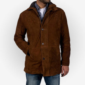Mens Brown Suede Leather Coat