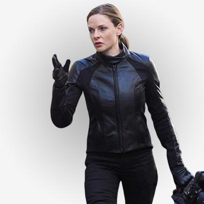 Rebecca Ferguson Black Biker Leather Jacket