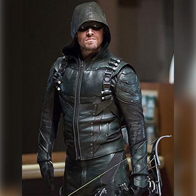 Green Arrow Leather Hooded Jacket