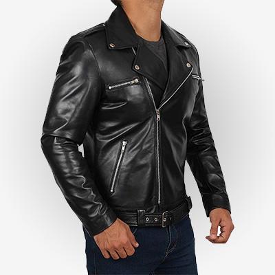 Mens Black Biker Jacket by Negan