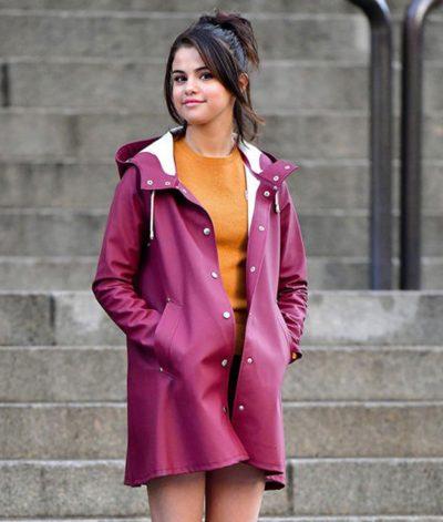 chan a rainy day in new york selena gomez purple coat