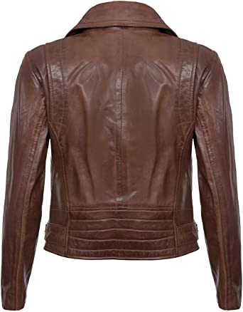 Women Fitted Zipper Style Leather Jacket