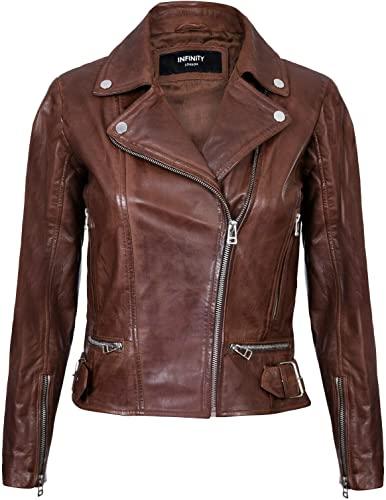 Women's Style Biker Brown Zipper Jacket