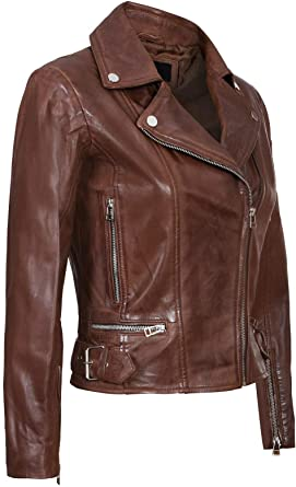 Women's Leather Jacket in Brown