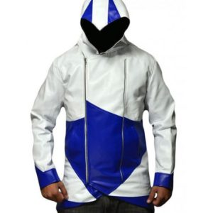 Connor Kenway Blue and White Leather Jacket