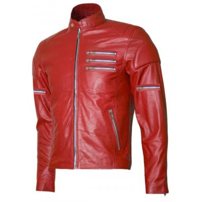 Silver Zipper Red Biker Jacket