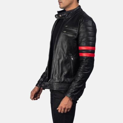 Black & Red Biker Jacket For Mens