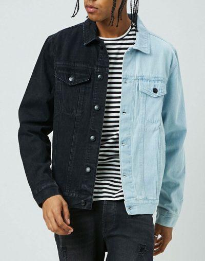 Reworked Denim Jacket Blue and Black