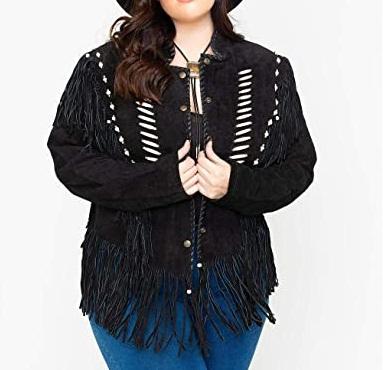 Womens Bone Bead and Fringe Black Jacket