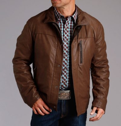 Cowboy Brown Leather jacket for Mens