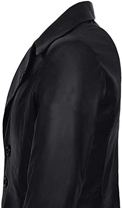 Dracula Costume Black Leather Trench Coat