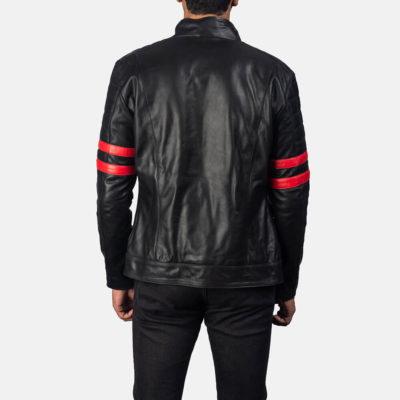 Monza Mens Black and Red Biker Jacket