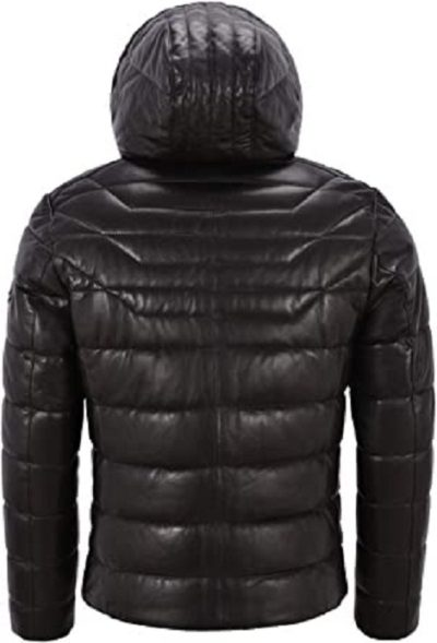 Puffer Hooded Black Leather Jacket