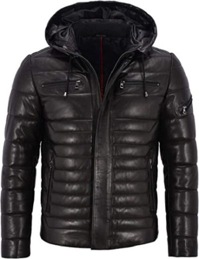 Real Leather Jacket Puffer Hooded