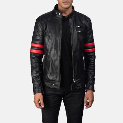 Mens Black and Red Monza Biker Jacket