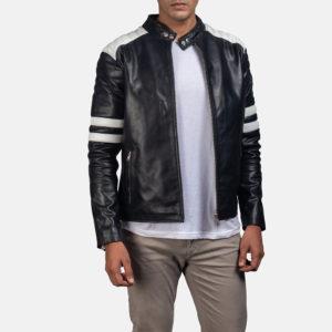Monza Black White Biker Jacket For Mens