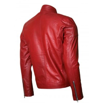 Red Leather Silver Zipper Jacket
