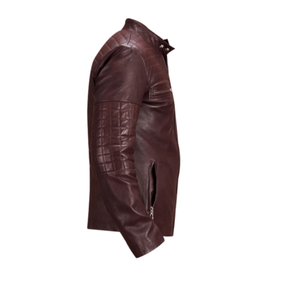 Maroon Leather Urbane Quilted Jacket