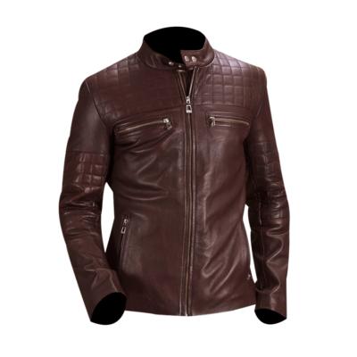Mens Biker Urbane Quilted Maroon Jacket