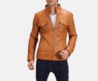 Mens Voltex Tan Biker Jacket