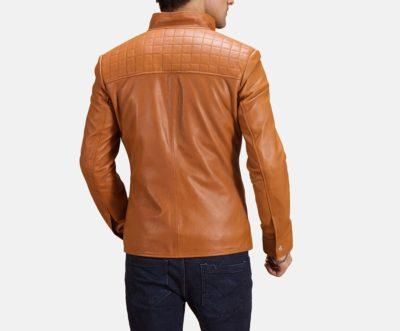 Mens Biker Voltex Tan Leather Jacket