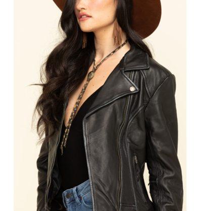 Fringe Black Leather Jacket